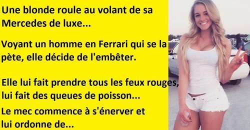Blague drôle, une belle blonde se met à embêter un mec en Ferrari sur l'autoroute