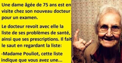 Blague drôle et longue, une dame âgée visite son nouveau docteur…