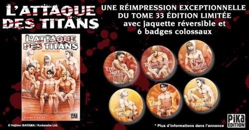 Réimpression pour le tome 33 de l'attaque des titans en édition limitée