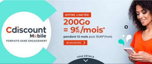 Bon plan : le forfait Cdiscount série Limitée avec 200 Go à 9,99 euros par mois