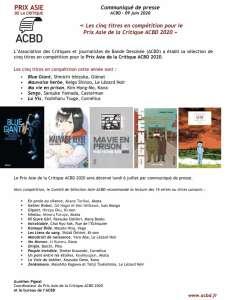 L'ACBD dévoile les cinq titres de son Prix Asie de la critique 2020