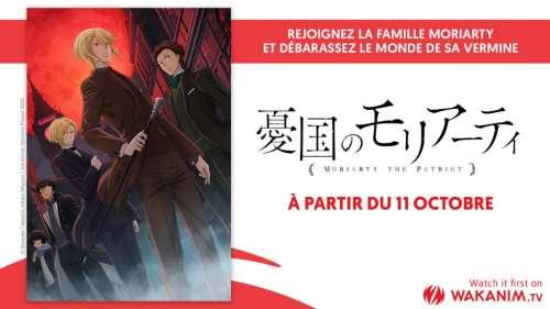 Les anime Moriarty, Kuma Bear et Gymnastics Samurai en simulcast sur Wakanim