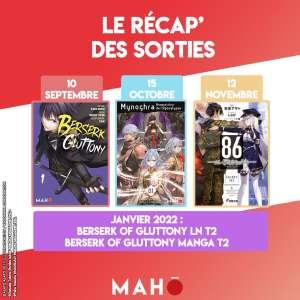 Mahô annonce le manga Berserk of Glutony et les light novels 86 Eighty Six et Mynoqhra