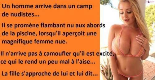 Blague drôle, c'est sa première fois dans un camp de nudistes et il n'arrive pas à cacher son excitation