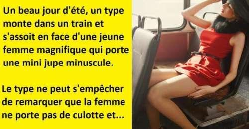 Blagues drôles, un mec s'assoit face à elle alors qu'elle porte une jupe minuscule…