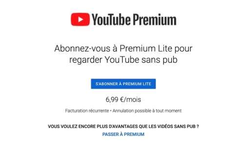 YouTube Premium Lite retire les publicités pour moins cher