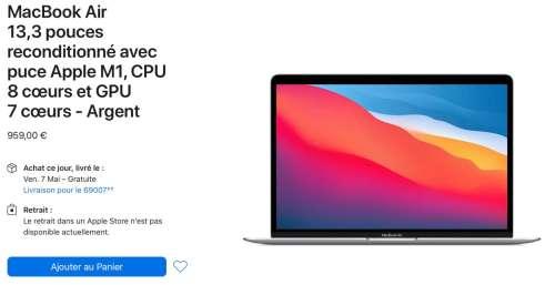 Refurb : des MacBookAir M1 de 8 à 16Go de RAM et 256 Go à 1To de SSD