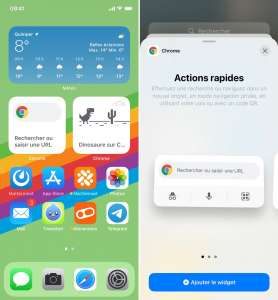 Chrome ajoute des widgets à l'écran d'accueil d'iOS14