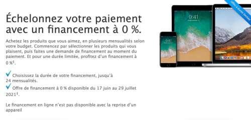 AppleStore : retour du crédit à 0% sur 12 ou 24 mois