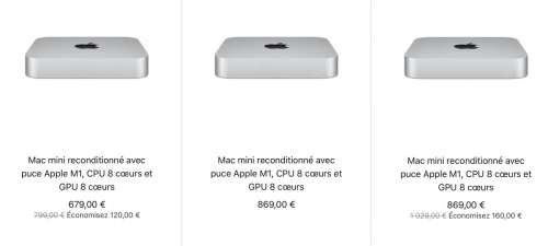 Refurb : Macmini M1 de 679€ à 1269€ (16Go/1To de SSD)