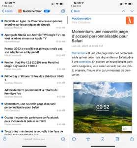 NetNewsWire 6.0 sur iOS avec des widgets et la synchro iCloud des flux RSS