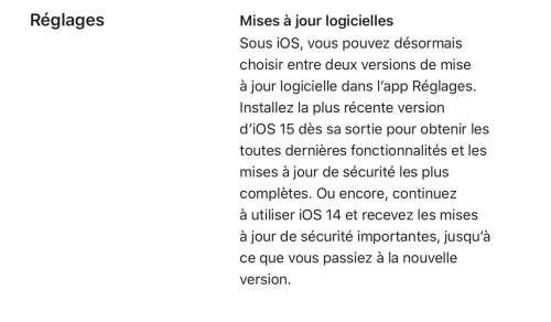 iOS 15 : changement de ton pour le choix entre rester sur iOS 14 ou mettre à jour