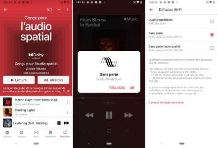 Le Lossless et l'audio spatial sont disponibles sur la version Android d'AppleMusic