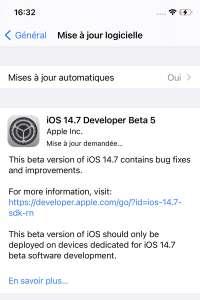 Une bêta 5 pour iOS 14.7, tvOS 14.7 et watchOS 7.6