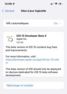 iOS 15 : la bêta (publique) 4 est en ligne, Safari sur iPad change d'interface