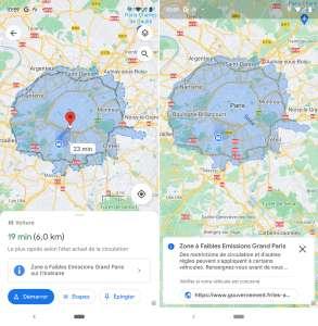 Google Maps prévient des zones à faibles émissions, Apple Plans des incidents météo