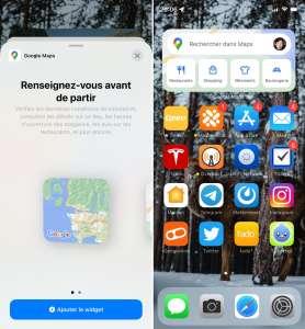 Google Maps ajoute deux widgets sur l'écran d'accueil d'iOS14