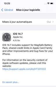 Une release candidate pour iOS 14.7 avec le support de la Batterie externe MagSafe