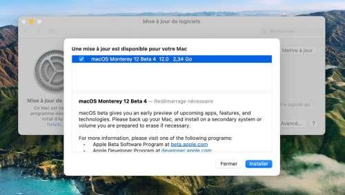 macOS Monterey : la quatrième bêta (publique) est de sortie