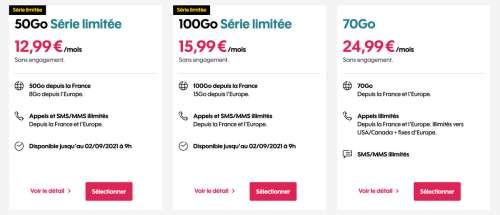 Forfaits en promo: 5€ pour 5 Go ou 13€ pour 50 Go minimum