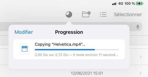 iOS15: Fichiers affiche enfin une barre de progression lors des transferts