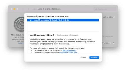 macOS Monterey : et voici enfin une sixième bêta