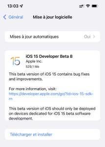 iOS 15 est maintenant disponible en bêta 8