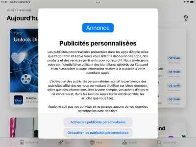Apple retourne sa veste et va demander le consentement pour personnaliser les pubs de l'AppStore