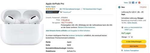 Promo : AirPods Pro à 172€ chez Amazon Allemagne