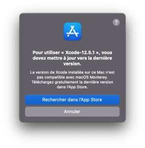macOS Monterey n'aime déjà plus les anciennes versions de Xcode
