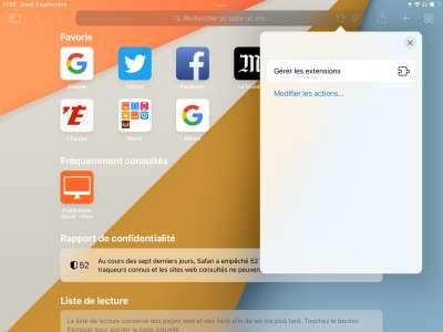 Aperçu des extensions Safari sur iOS 15