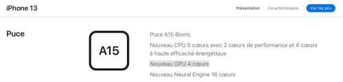 Le GPU des iPhone 13 Pro compte un cœur de plus que les iPhone 13 standard