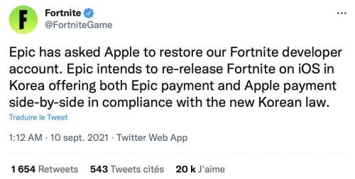 Fortnite sur l'AppStore : Epic veut revenir par la Corée, Apple ferme la porte