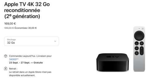 Refurb : AppleTV 4K 2021 à 169€ (et CHF 169)