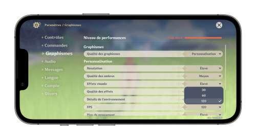 Genshin Impact active son mode 120 i/s pour les iPhone 13 Pro et les iPadPro