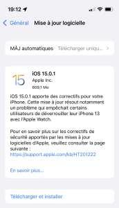 iOS 15.0.1 corrige le bug du déverrouillage des iPhone 13 avec l'AppleWatch