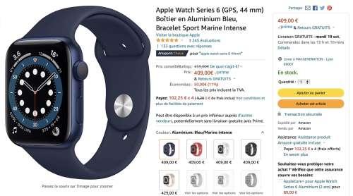 Promo : l'AppleWatch Series 6 de 379 € (40 mm) à 409€ (44mm)