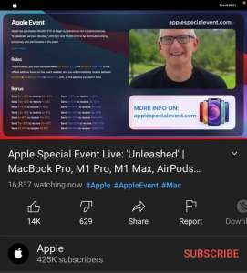 Sur YouTube, de faux directs de l'événement Apple pour extorquer des cryptomonnaies