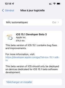 iOS 15.1 : la troisième bêta en approche, avec l'enregistrement ProRes sur iPhone 13 Pro