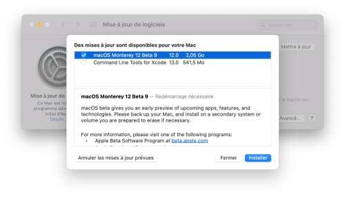 9e bêta pour macOS Monterey