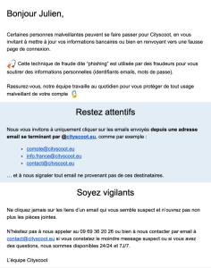 Cityscoot met en garde ses clients contre le phishing