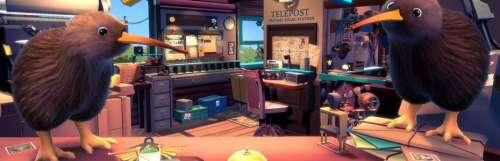 Carnet rose - Dans le jeu multijoueur KeyWe, deux oiseaux gèrent un bureau de poste