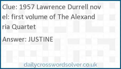 1957 Lawrence Durrell novel: first volume of The Alexandria Quartet crossword answer