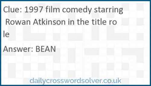 1997 film comedy starring Rowan Atkinson in the title role crossword answer