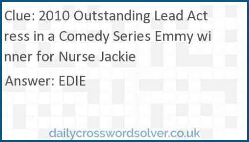 2010 Outstanding Lead Actress in a Comedy Series Emmy winner for Nurse Jackie crossword answer
