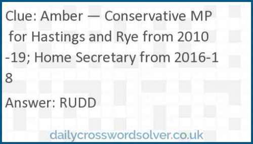 Amber — Conservative MP for Hastings and Rye from 2010-19; Home Secretary from 2016-18 crossword answer