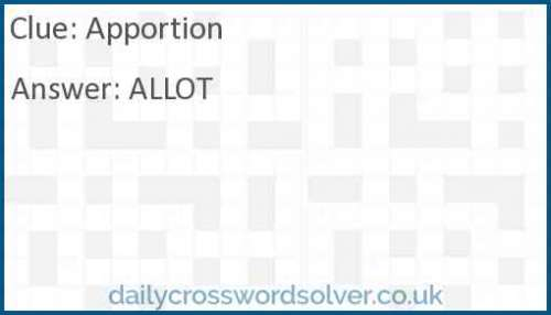 Apportion crossword answer