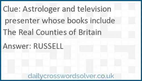 Astrologer and television presenter whose books include The Real Counties of Britain crossword answer
