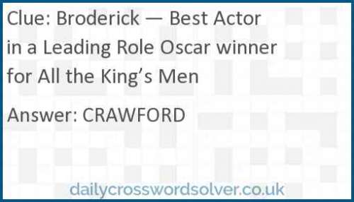 Broderick — Best Actor in a Leading Role Oscar winner for All the King's Men crossword answer