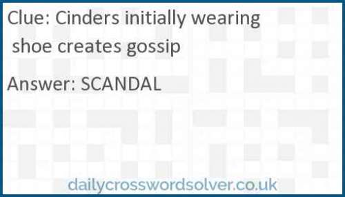 Cinders initially wearing shoe creates gossip crossword answer
